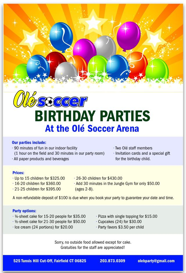 birthday parties at ole ole soccer ct