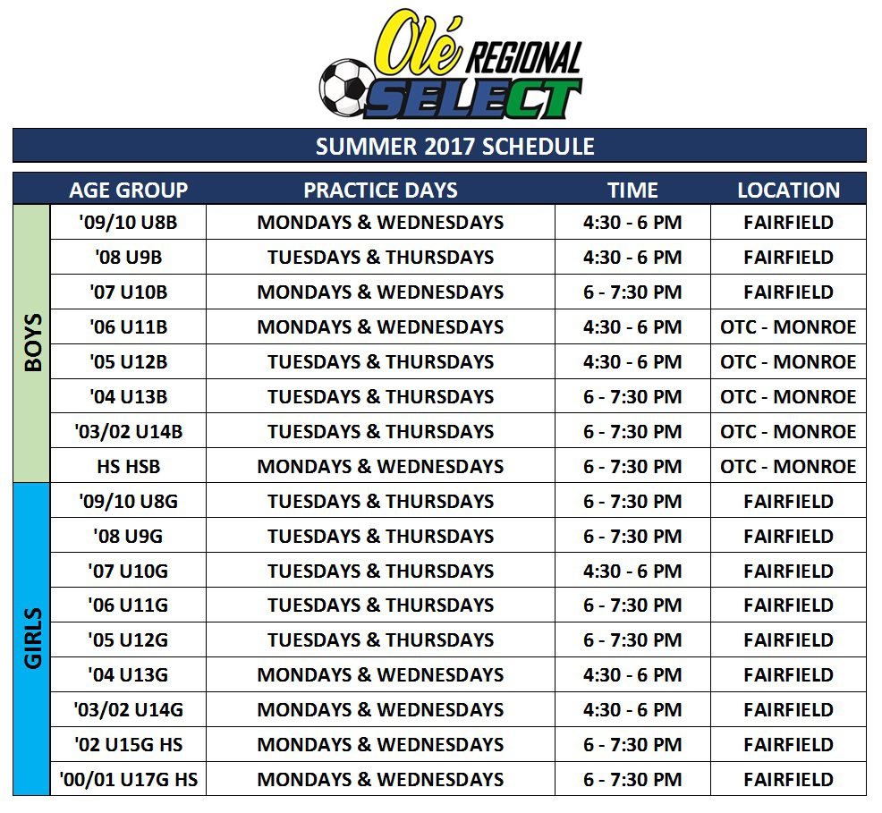SELECT SUMMER SCHEDULE PIC